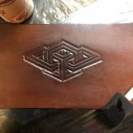 Brown leather with custom geometrical design