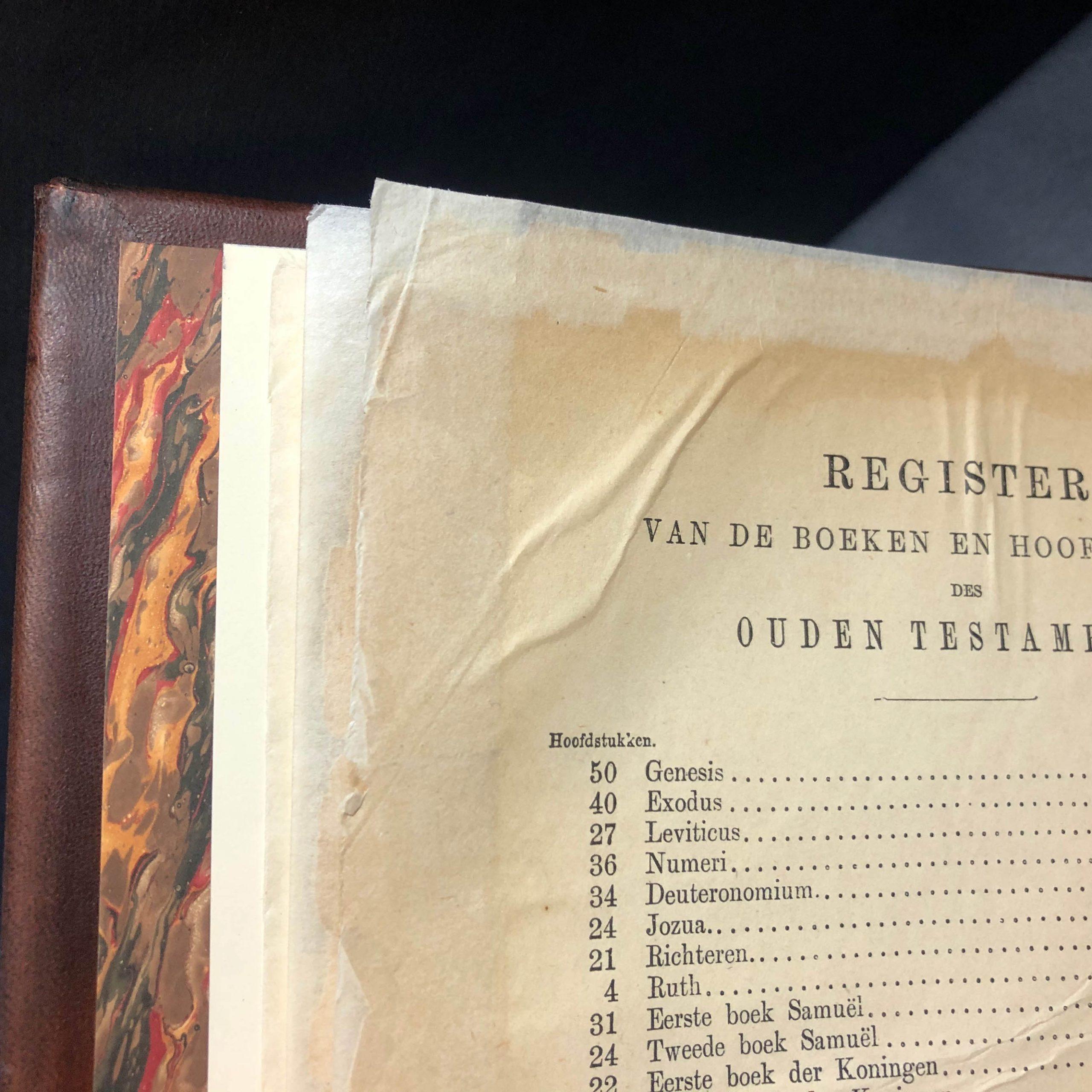Bijbel Restoration Custom Leather Bound Book Boston Harbor Bookbindery https://bostonharborbooks.com/